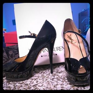 YSL Tribute 105 patent leather Mary Jane heels